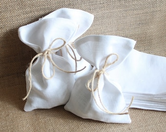 """Pure White Linen wedding favour bags with jute twine 4"""" x 6"""""""