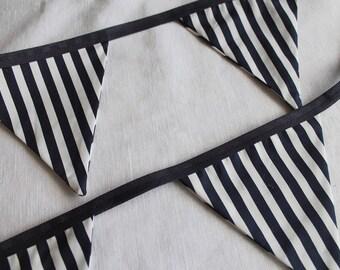 Nautical Navy & White Stripe Bunting  12 flags /party/weddings