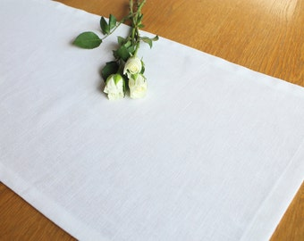 Pure white enzyme washed linen table runner, wedding, kitchen and dining tableware