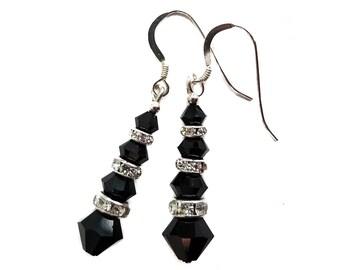 98e912a73 JET BLACK Crystal Earrings Swarovski Elements Dangle Sterling Silver