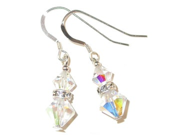 CLEAR AB Iridescent Crystal Earrings Sterling Silver Dangle Swarovski Elements - Clip-on or Pierced