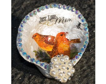 MOM Sea Shell Art Clam Jewelry Holder, Rhinestone Crystal Ring Dish, Birds OOAK