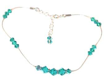 Swarovski Crystal Anklet Sterling Silver BLUE ZIRCON Teal Bali Handcrafted