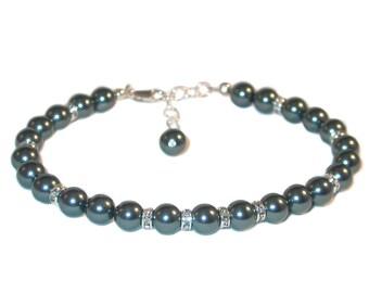 TAHITIAN TEAL Pearl Bracelet Sterling Silver Bridesmaid Bridal Swarovski Elements