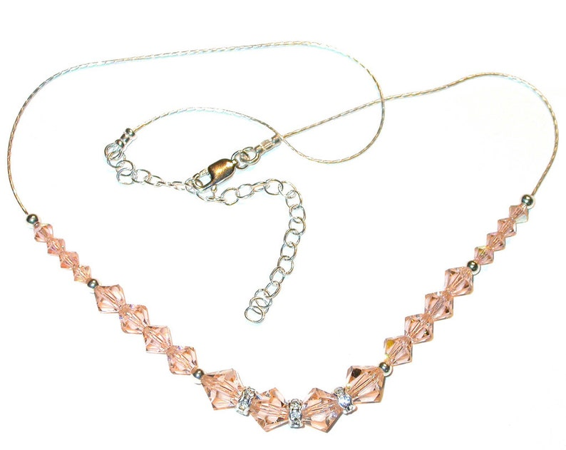 79233426953bd PEACH Crystal Necklace Sterling Silver Swarovski Elements Handcrafted