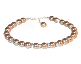 BRONZE Pearl Bracelet Sterling Silver Bridesmaid Bridal Swarovski Elements