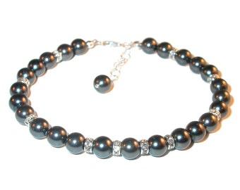 BLACK Pearl Bracelet Sterling Silver Bride's Bridal Swarovski Elements
