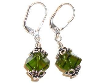 OLIVE OLIVINE GREEN Crystal Diagonal 8mm Cube Earrings Sterling Silver Swarovski Elements