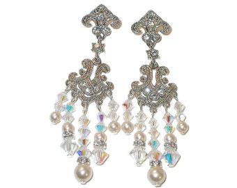 Swarovski Crystal Elements & CREAM PEARL Earrings Bride's Chandelier Clear AB Bridal Jewelry