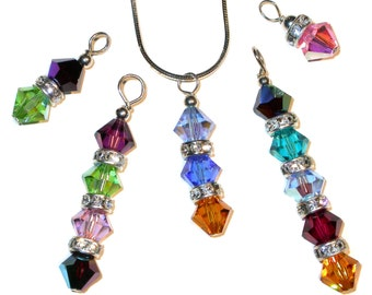MOTHER'S Swarovski Crystal BIRTHSTONE PENDANT for Family Handcrafted Elements