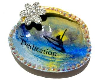 Sea Shell Art Clam Jewelry Holder, Rhinestone Crystal Ring Dish, Dedication Dancer OOAK
