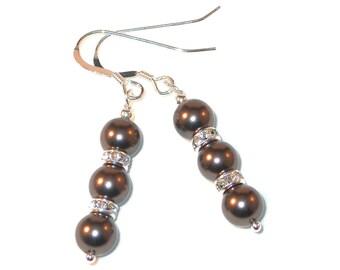 BROWN Pearl Earrings Bridal Swarovski Crystal Elements Sterling Silver Dangle
