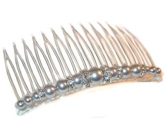 GREY Pearl Hair Comb Bridal Swarovski Crystal Elements Silver Gray