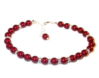 BORDEAUX RED Pearl Bracelet Sterling Silver Bridesmaid Bridal Swarovski Elements
