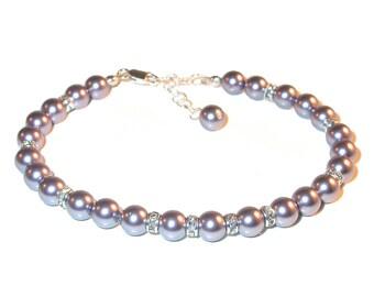 MAUVE Pearl Bracelet Sterling Silver Bridesmaid Bridal Swarovski Elements