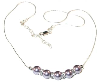 MAUVE Pearl Necklace Bridal Bridesmaid Sterling Silver Swarovski Elements