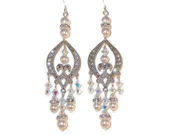 "3"" Long CLEAR AB Crystal & WHITE Pearl Chandelier Earrings Swarovski Elements Bride's Bridal Jewelry"