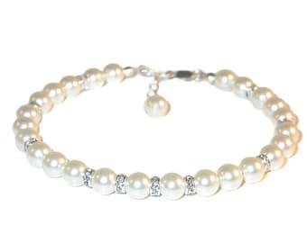 Ivory CREAM Pearl Bracelet Sterling Silver Bride's Bridal Swarovski Elements