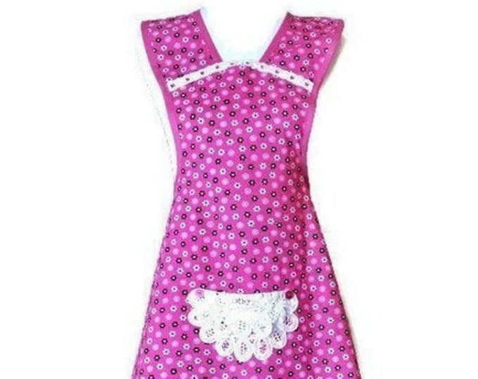 Bold Pink Old-Fashioned Apron / Apron for Women Size XS-S
