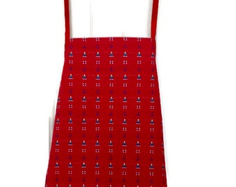 Child's Apron in Sailboat and Anchor Red Print Fabric / Boy's Apron Size 7-8 / Girl's Apron Size 7-8