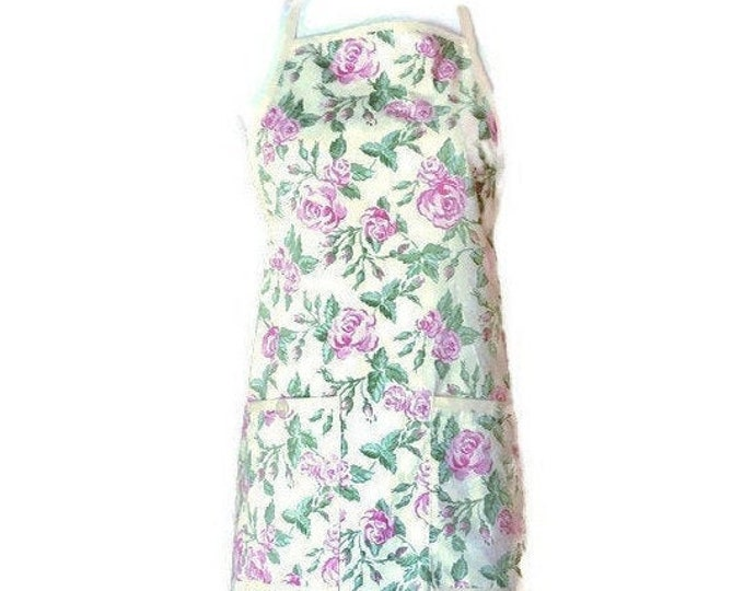 Yellow and Pink Floral Ruffled Hemline Apron / Yellow Apron for Women