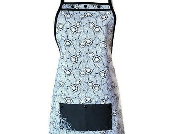 Black and White Geometric / Floral Print Apron with Vintage Handkerchief Pocket / Art Deco Women's Apron Size S to L