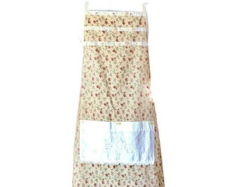 Apron in Yellow with with Pink Floral Print / Apron for Women Size M - XL