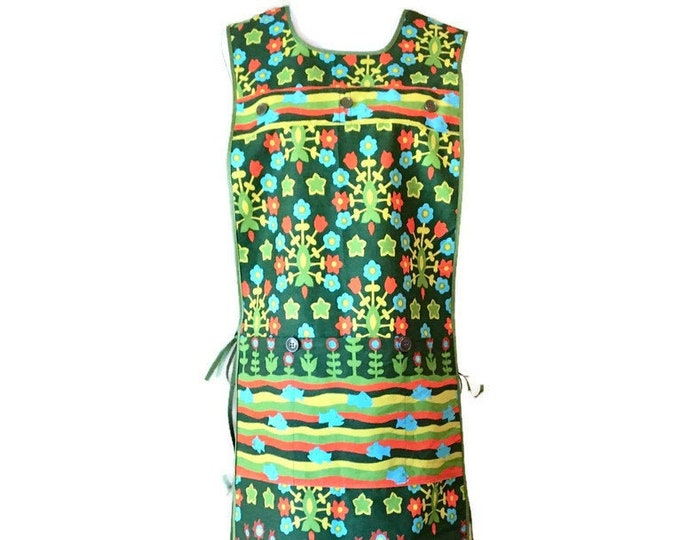 Tunic Apron from Vintage Green Floral and Fish Print Fabric / Charcuterie Apron / Long Cobbler Apron Fits Sizes S, M or L