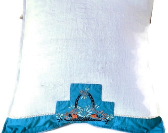 Turquoise and Cream Pillow Made From Vintage Linen Embroidered Dresser Scarf