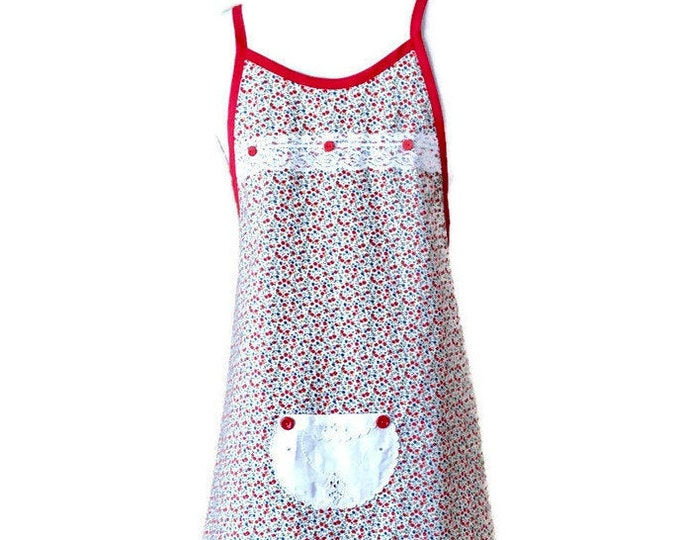 White and Red Floral Preteen Apron / Apron For Girls Size 10-12 / Petite Apron