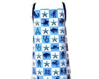 Blue and White Sheriff/Cowboy Theme Apron / Apron for Children Size 5-6