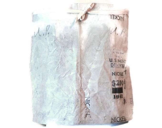 Denver Mint Bag Half Apron / Apron from Vintage Bank Bag