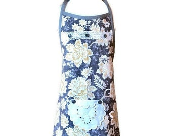 Gray and Yellow Floral Apron for Girls / Apron Size 7-8