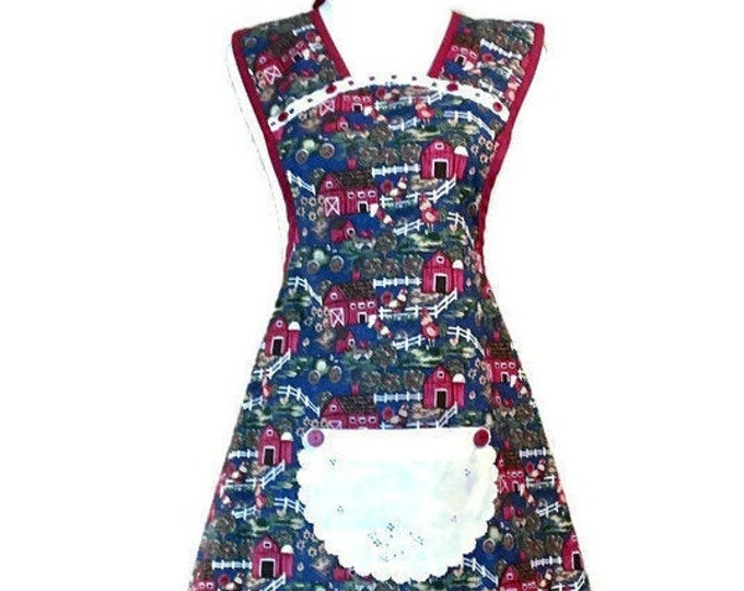 Blue Farm Scene Rooster and Barn Old-Fashioned Apron / Blue Apron for Women Size M-L