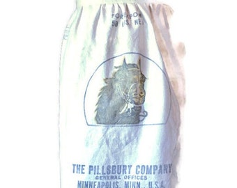 Pillsbury Horse Feed Sack Half Apron / Upcycled Apron From Vintage Feed Sack Size XS-L