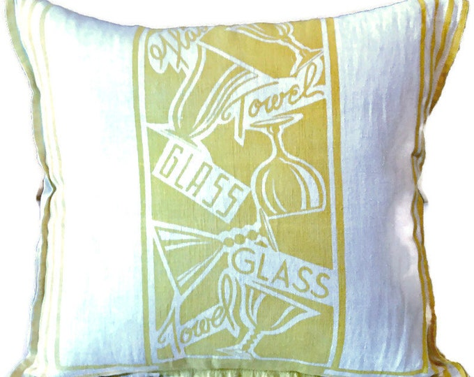 Yellow and White Tea Towel Upcycled Into Pillow Cover