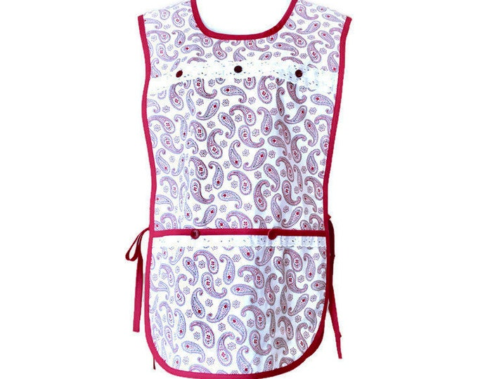 Burgundy Paisley Print Cobbler Apron / Side-Tie Apron / Plus Size Cobbler Apron Fits Sizes XL or 1X