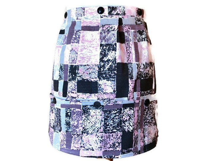 Half Apron in Pink, Black, Gray Barkcloth / Retro Apron / Half Apron for Women Size XS-L