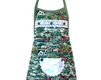 Country Scene Girl's Apron Size 5-6
