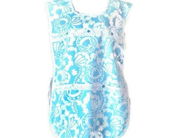 Light Blue and White Plus Size Cobbler Apron with Pockets / Side-Tie Apron for Women Size XL-1X-2X