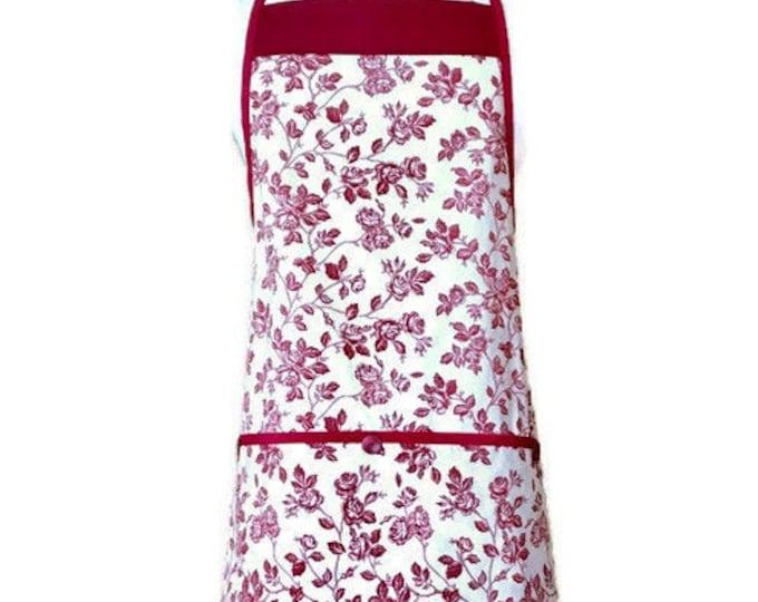 Burgundy Floral Print Apron / Maroon Apron / Burgundy Apron for Women Size M-XL