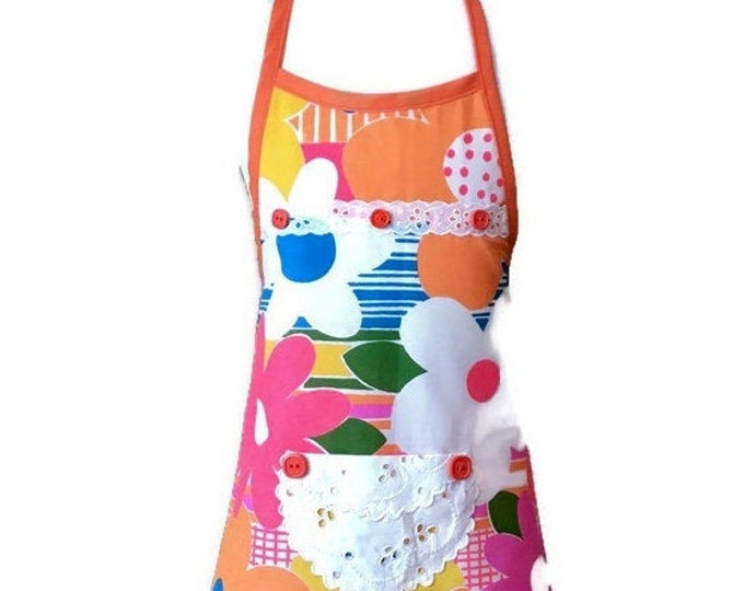 Flower Power Apron / Apron for Girls Size 3-4