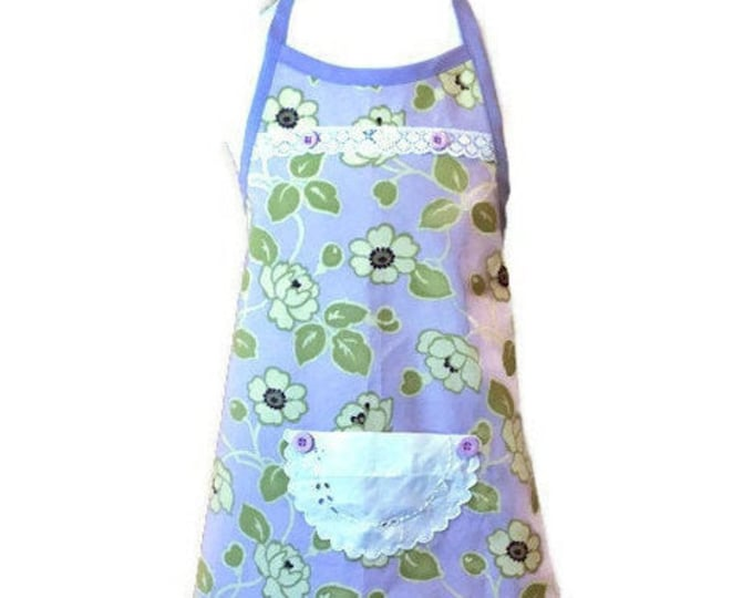 Girl's Apron in Purple and Green Floral Print / Apron for Girls Size 3-4