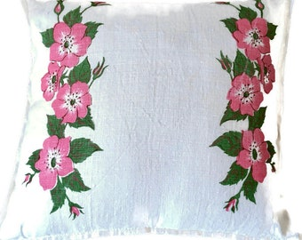 Pink, Green and Cream Floral Decorative Pillow