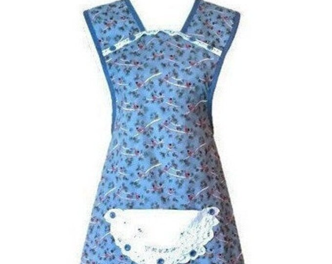 Old-Fashioned Apron in Cardinal Print on Blue / Women's Apron Size M-L
