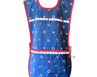 Anchor and Helm Wheel Print Plus Size Cobbler Apron / Side Tie Apron Fits Sizes 2X or 3X