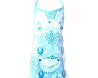 Blue on White Girl's Apron / Apron for Girls Size 7-8