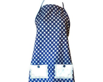 Blue Geometric Print Apron from Vintage Flour Sack / Flour Sack Apron for Women Size S-L