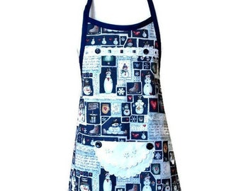 Rounded Edge Blue Snow Ice Cream Apron / Christmas Apron for Girls Size 3-4