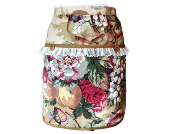 Golden Floral Half Apron with Large Pockets / Vendor Apron / Server Apron / Gardening Apron / Half Apron for Woman Fits Sizes S-M-L-XL